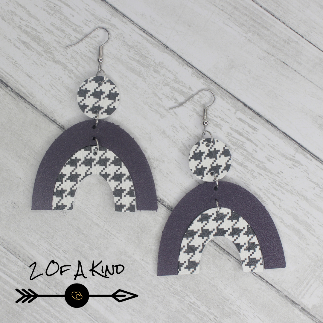 plum leather earrings