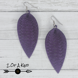 purple pinched leaf leather earrings