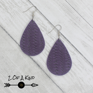 purple braid leather earrings