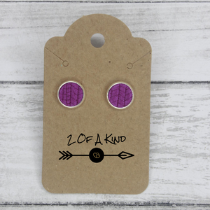 purple stud leather earrings