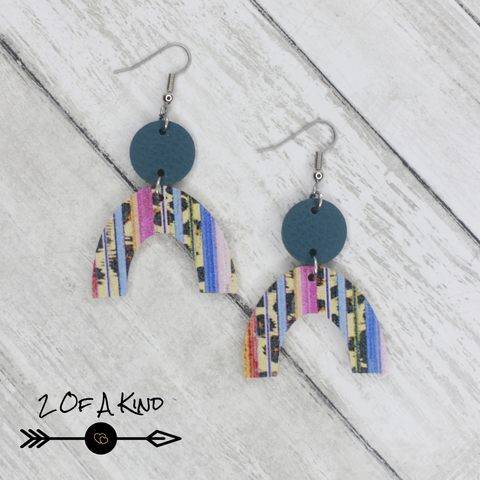rainbow dot leather earrings