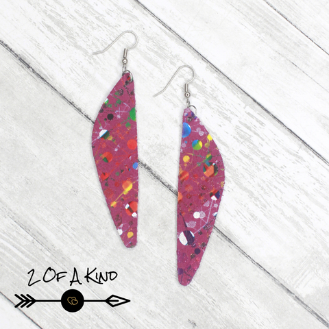 rainbow splatter leather earrings