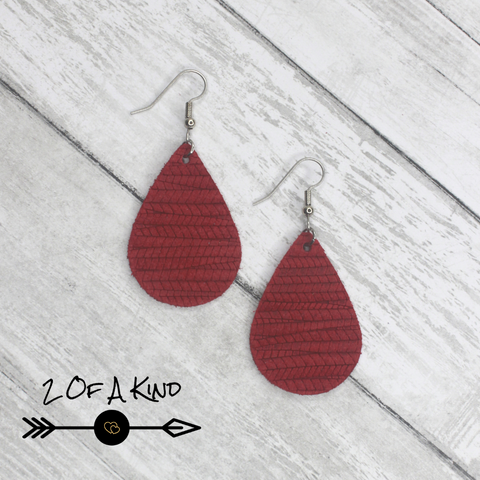 red fishtail teardrop leather earring