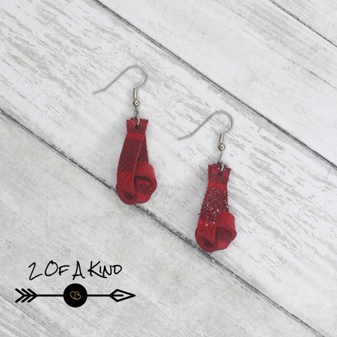 red knot leather earrings