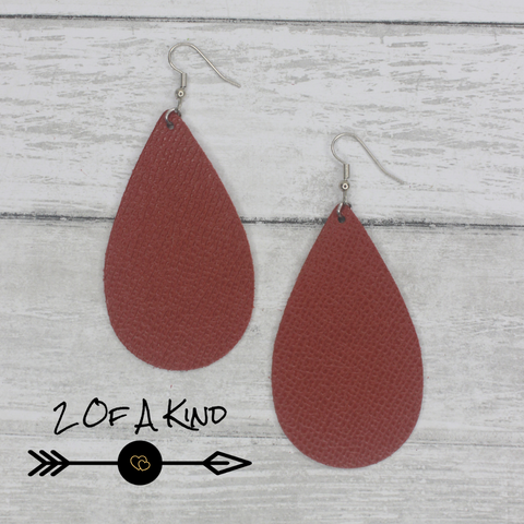 burnt orange teardrop leather earrings