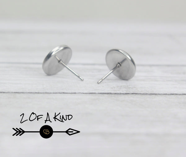 Distressed Black Stud Earrings
