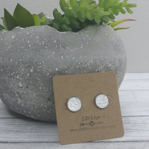 silver leather stud earrings