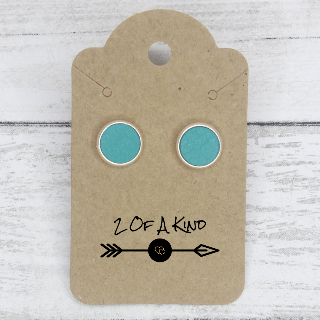 teal stud leather earrings