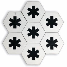 Load image into Gallery viewer, Cruz hex tile black (cement tile) - white floor tile-encaustic bathroom tile-Maria Starling Design