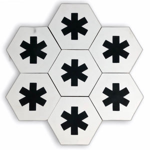 Cruz hex tile black (cement tile) - white floor tile-encaustic bathroom tile-Maria Starling Design