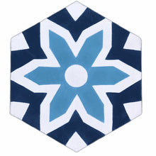 Load image into Gallery viewer, cement tile - blue tiles- bathroom tiles- floor tiles- moroccan cement tiles uk