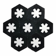 Load image into Gallery viewer, Cruz hex tile black (cement tile) - black hex tile-encaustic floor tile-Maria Starling Design