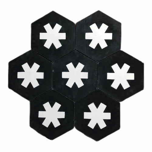 hex tile black (cement tile) - black hex tile-encaustic floor tile-Maria Starling Design