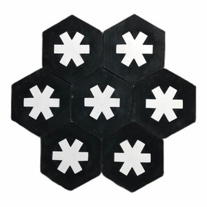 Cruz hex tile black (cement tile) - black hex tile-encaustic floor tile-Maria Starling Design