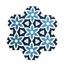 Load image into Gallery viewer, Fleur hex tile (cement tile) - blue tiles-Maria Starling Design
