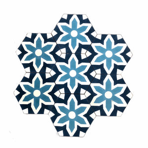 Fleur hex tile (cement tile) - blue tiles-Maria Starling Design