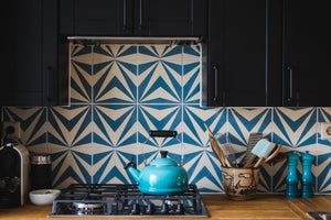 blue-white cement tile-kitchen backsplash
