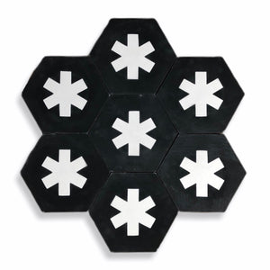 Cruz hex tile black (cement tile) - bathroom floor tile-moroccan floor tiles- black tile-Maria Starling Design