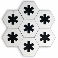 Load image into Gallery viewer, Cruz hex tile white (cement tile) - black hex tile-encaustic floor tile-Maria Starling Design