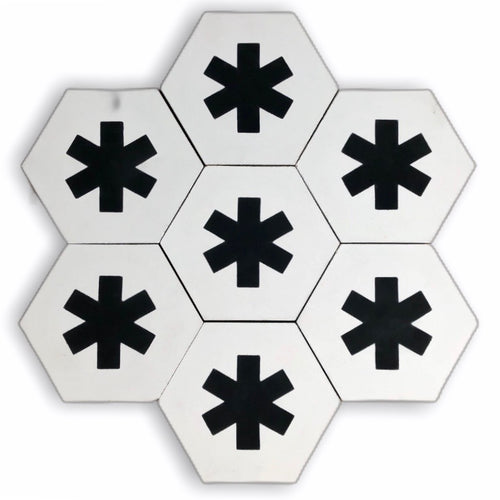 Cruz hex tile white (cement tile) - black hex tile-encaustic floor tile-Maria Starling Design