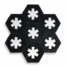 Load image into Gallery viewer, Cruz hex tile black (cement tile) - bathroom floor tile-moroccan floor tiles- encaustic tiles UK