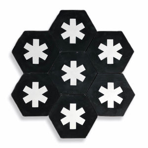 Cruz hex tile black (cement tile) - bathroom floor tile-moroccan floor tiles- encaustic tiles UK