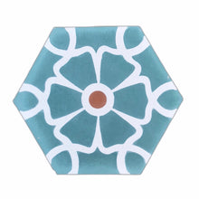 Load image into Gallery viewer, Ella (Cement Tile) teal hex tile- cement bathroom tiles-floor tile- Maria Starling Design