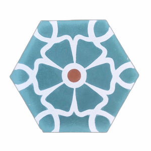 Ella (Cement Tile) teal hex tile- cement bathroom tiles-floor tile- Maria Starling Design