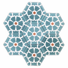 Load image into Gallery viewer, Cement Tile-teal tile-patterned tiles- Moroccan tiles UK - floor tile- cement tiles UK-