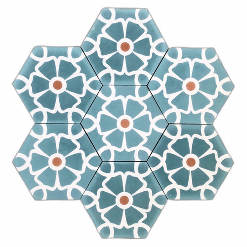 Cement Tile-teal tile-patterned tiles- Moroccan tiles UK - floor tile- cement tiles UK-