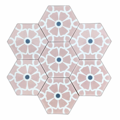 Ella (Cement Tile) - pink bathroom tiles- moroccan floor tiles- uk tileMaria Starling Design