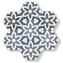 Load image into Gallery viewer, Fleur hex tile (cement tile) - grey tiles- bathroom tiles-Maria Starling Design