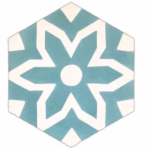 Fleur hex tile (cement tile) - bathroom floor tile- teal tiles-Maria Starling Design- hex tile