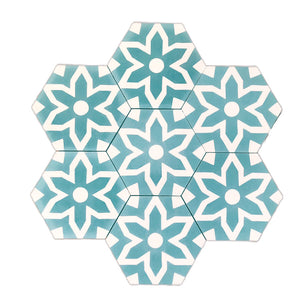 Fleur hex tile (cement tile) - teal tiles- bathroom tiles-Maria Starling Design