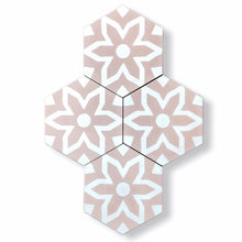 Load image into Gallery viewer, pink hex floor tile-cement bathroom tile uk- encaustic tiles uk- moroccan tiles uk- bathroom tiles
