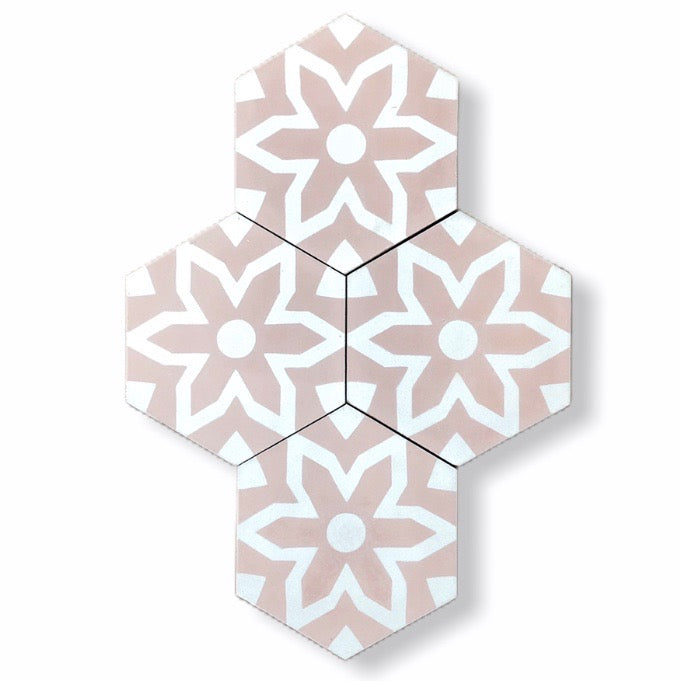 pink hex floor tile-cement bathroom tile uk- encaustic tiles uk- moroccan tiles uk- bathroom tiles