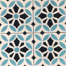 Load image into Gallery viewer, Cement kitchen floor tiles- turquoise-black-wall tiles-encaustic cement bathroom tiles uk.