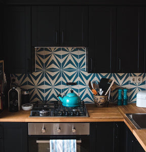 kitchen cement tile-blue-white cement tiles-kitchen tiles