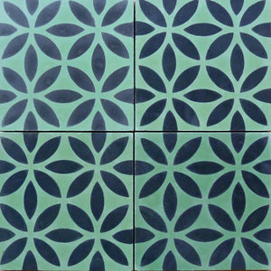 Oasis (Cement Tile) green tile-black tile-wall tiles-uk tiles- Maria Starling Design