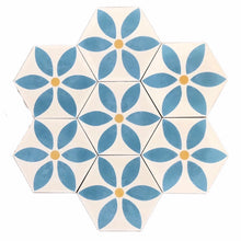 Load image into Gallery viewer, petal (cement tile)teal/cream