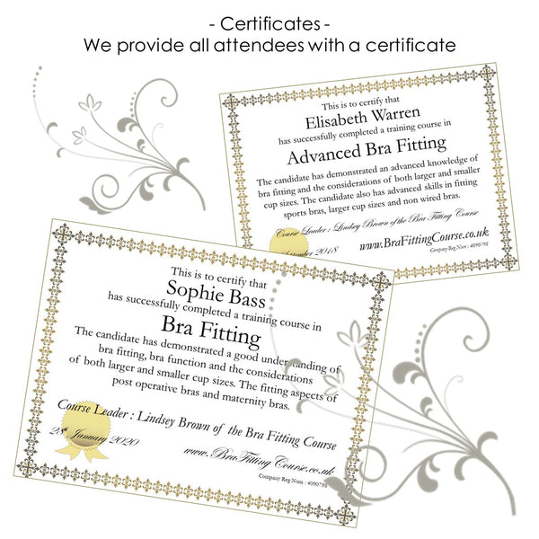 Bra Fitting Course Certificates after  attending a bra fitting course