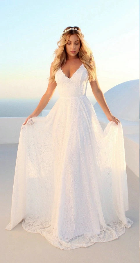 Princess Lace A Line Budget Wedding Dress Herabrides