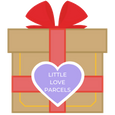 Little Love Parcels logo red bow purple heart gift box