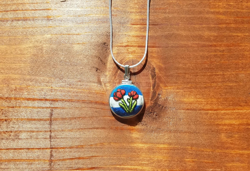 Red Poppies on Blue & White Stripes Hand Embroidered Sterling Silver Necklace - Little Love Parcels