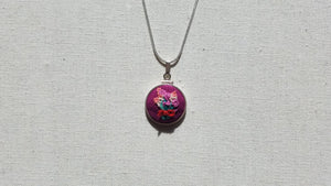 Purple Roses and Pink Hyancinths Bouquet on Plum Purple Hand Embroidered Sterling Silver Necklace - Little Love Parcels
