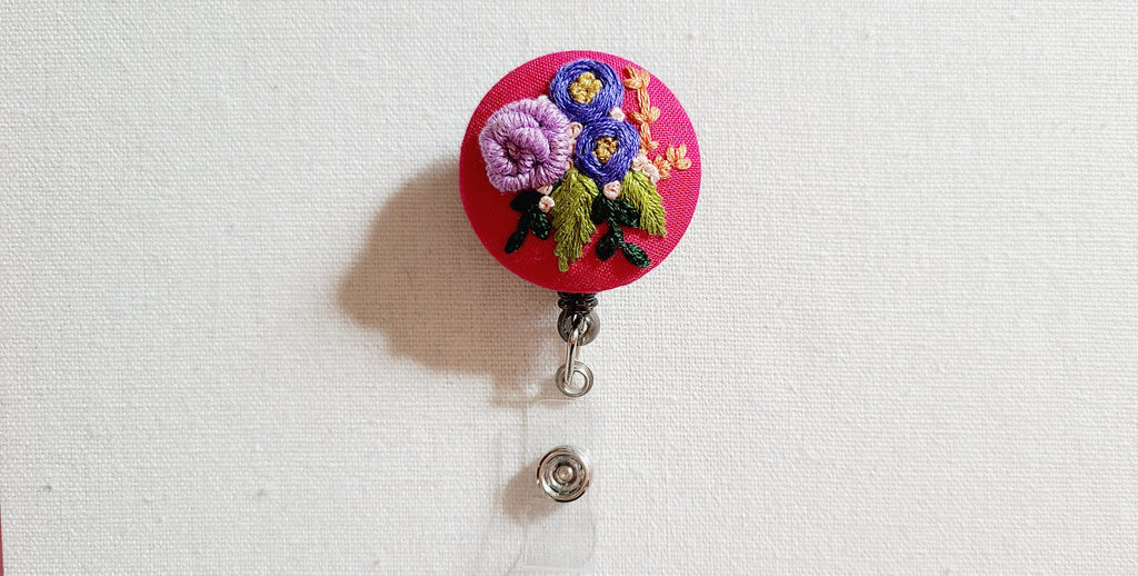 Purple Roses on Hot Pink Hand Embroidered Retractable Badge Reel