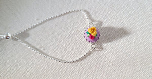 Yellow Pansy and Pink Rose on Lavender Have Embroidered Sterling Silver Bracelet