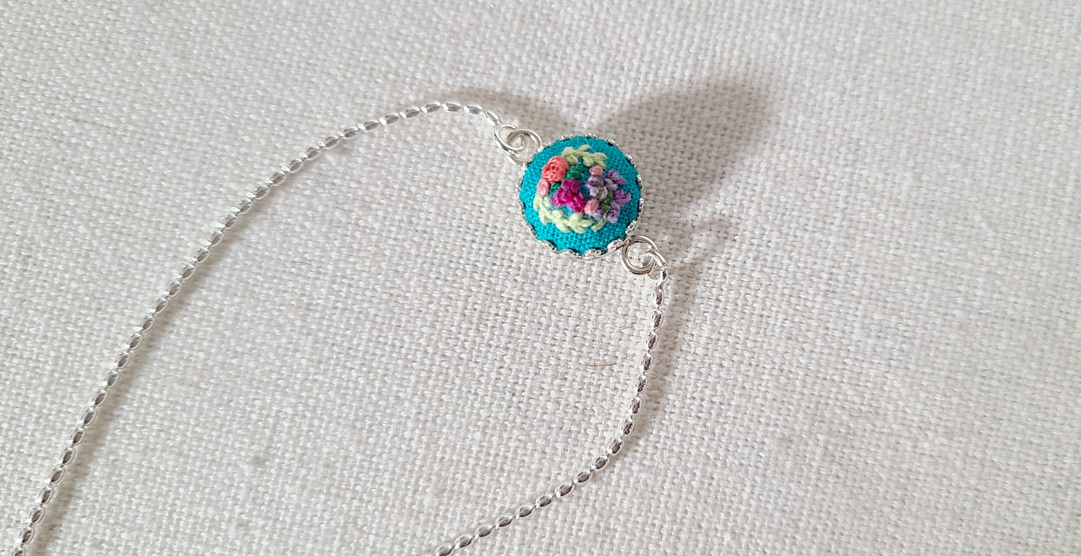 Roses and Pansies Wreath of Turquoise Hand Embroidered Sterling Silver Bracelet