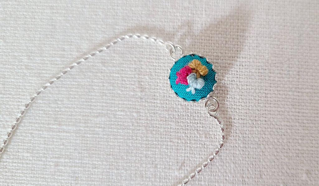 Mini Colorful Bows on Turquoise Hand Embroidered Sterling Silver Bracelet