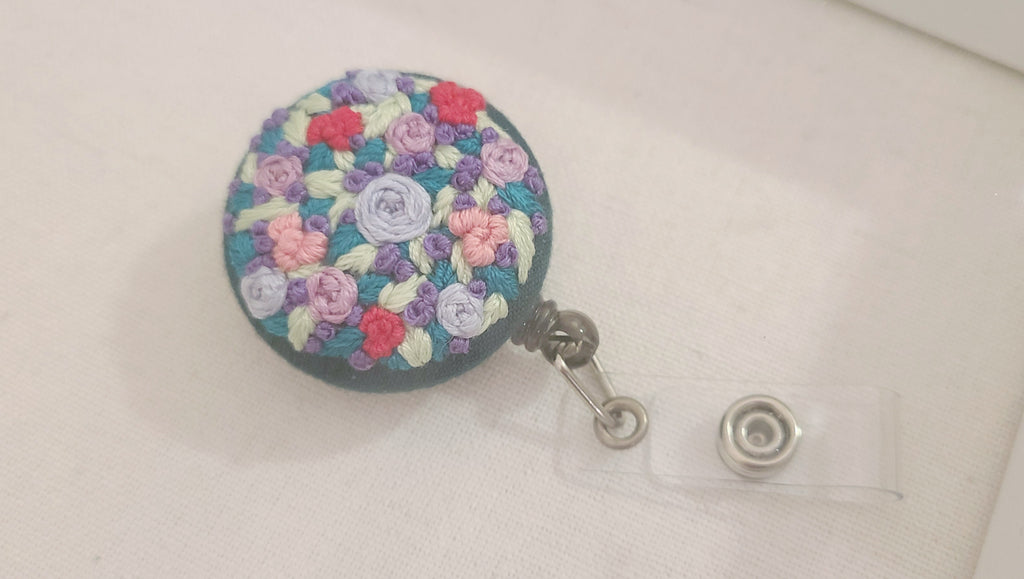 Pink and Purple Garden Patch Hand Embroidered Retractable Badge Reel